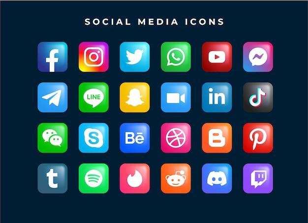 Conjunto de plantilla de icono de logotipo de red de redes sociales