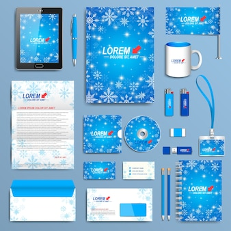 Conjunto de plantilla de identidad corporativa. diseño de papelería empresarial moderno. diseño azul de año nuevo con copos de nieve dorados.