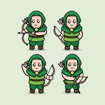 Conjunto de plantilla de ilustración de diseño de mascota de arquero medieval lindo