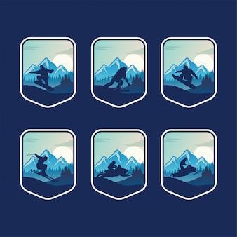 Conjunto de plantilla de insignia de deporte de invierno