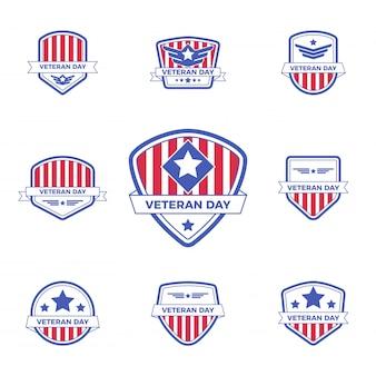 Conjunto de plantilla de insignia de logotipo de día de los veteranos con diseño rojo y azul para evento o sello.