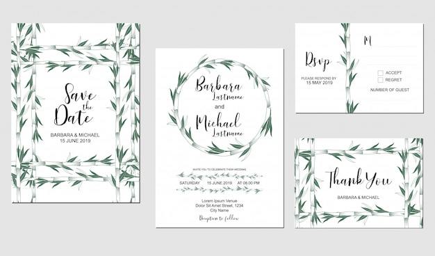 Conjunto de plantilla de invitación de boda con decoración de planta de bambú