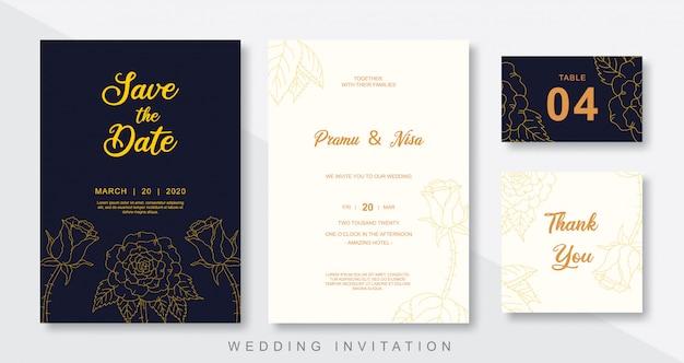 Conjunto de plantilla de invitación de boda estilo flora
