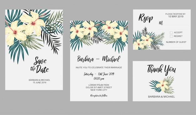 Conjunto de plantilla de invitación de boda con flores de hibisco y decoración de hojas tropicales