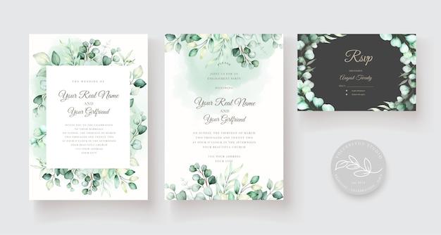 Conjunto de plantilla de invitación de boda con hojas de eucalipto