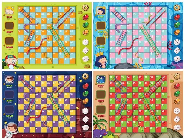 Conjunto de plantilla de juego de escalera de serpiente