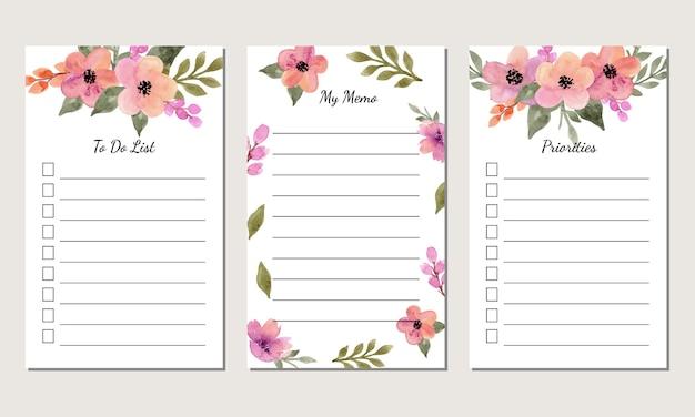 Conjunto de plantilla de lista de tareas con fondo floral acuarela