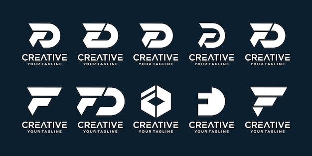 Conjunto de plantilla de logotipo abstracto inicial letra f, d.