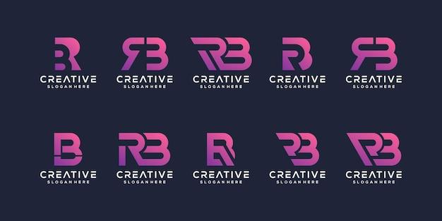 Conjunto de plantilla de logotipo abstracto inicial letra r, b.