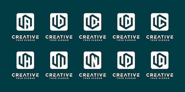 Conjunto de plantilla de logotipo abstracto inicial letra u y etc. iconos para negocios de lujo, elegantes y sencillos.