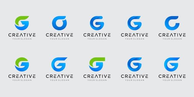 Conjunto de plantilla de logotipo abstracto letra g inicial. iconos para negocios de moda, tecnología digital