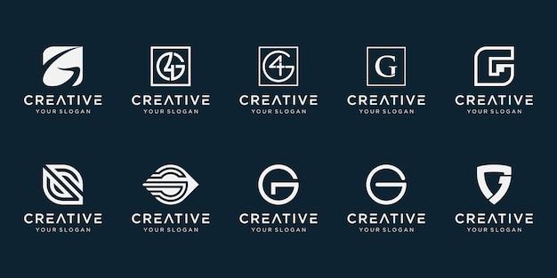 Conjunto de plantilla de logotipo abstracto letra g inicial.