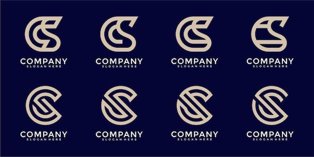 Conjunto de plantilla de logotipo abstracto letra inicial c y s