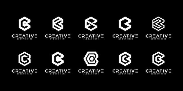 Conjunto de plantilla de logotipo abstracto letra inicial c