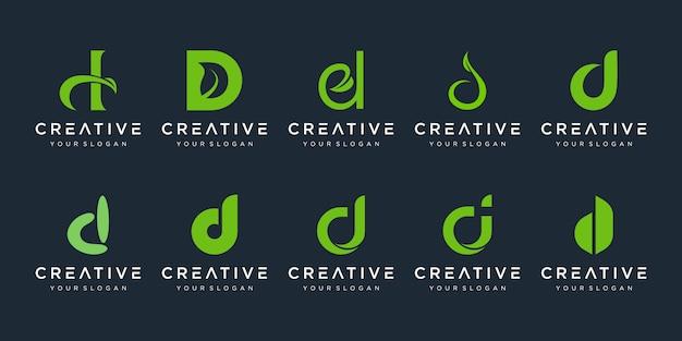 Conjunto de plantilla de logotipo abstracto letra inicial d iconos para negocios de belleza, spa, naturaleza, puro, simple.