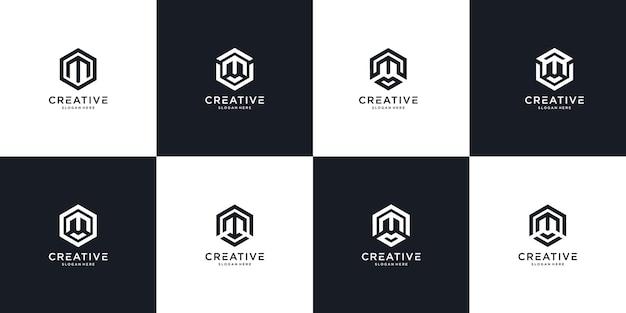 Conjunto de plantilla de logotipo abstracto letra inicial m. iconos para negocios de moda, deporte, automoción, sencillos.