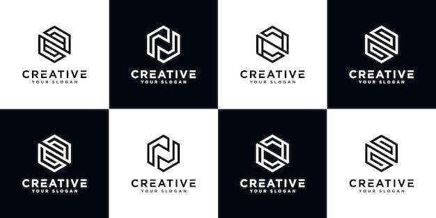 Conjunto de plantilla de logotipo abstracto letra inicial n. iconos para negocios de lujo, elegantes y sencillos.