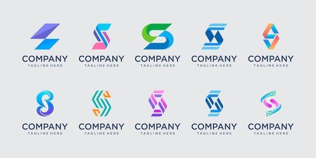 Conjunto de plantilla de logotipo abstracto letra inicial s