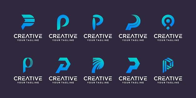 Conjunto de plantilla de logotipo abstracto letra p inicial. iconos para negocios de moda, automotriz, financiero