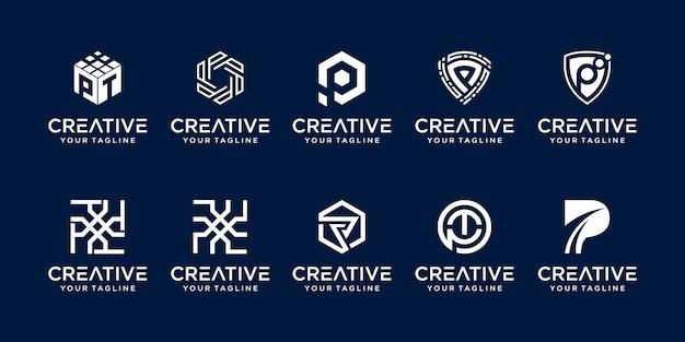 Conjunto de plantilla de logotipo abstracto letra p inicial. iconos para negocios de moda, digital, tecnología,