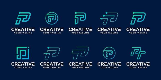 Conjunto de plantilla de logotipo abstracto letra p inicial.