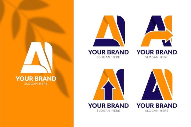 Conjunto de plantilla de logotipo de ai de diseño plano