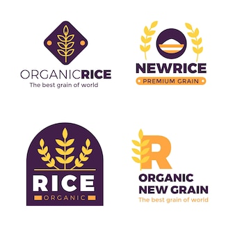 Conjunto de plantilla de logotipo de arroz