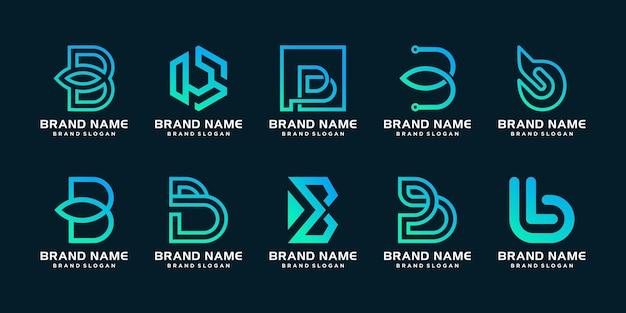 Conjunto de plantilla de logotipo b con concepto moderno único