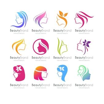 Conjunto de plantilla de logotipo de belleza