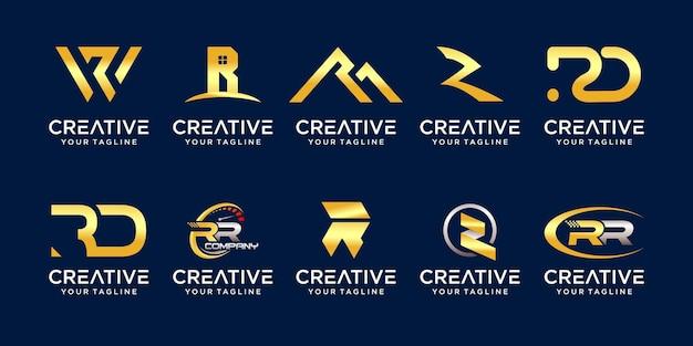Conjunto de plantilla de logotipo de colección inicial letra r rr.