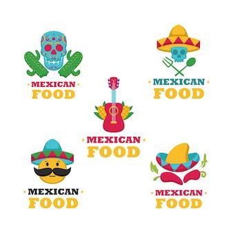 Conjunto de plantilla de logotipo de comida mexicana
