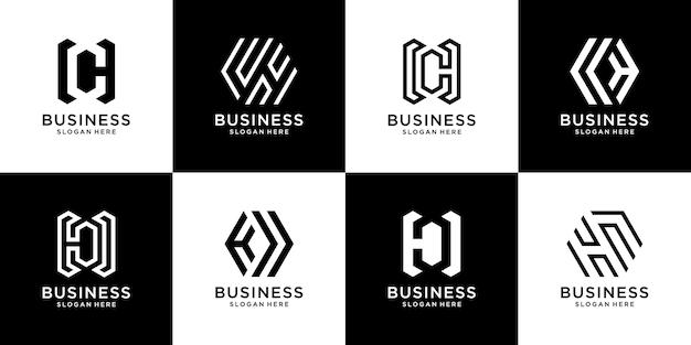 Conjunto de plantilla de logotipo creativo flat c