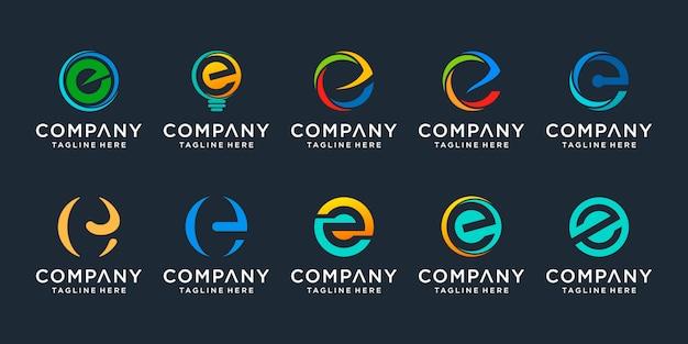 Conjunto de plantilla de logotipo creativo letra e iconos para negocios de finanzas, consultoría, simple.