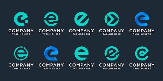 Conjunto de plantilla de logotipo creativo letra e iconos para negocios de finanzas, consultoría, tecnología, simple.