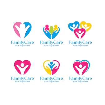 Conjunto de plantilla de logotipo de cuidado familiar