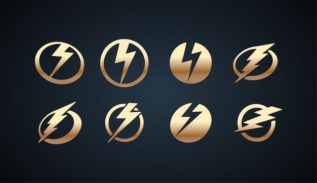 Conjunto de plantilla de logotipo de diseño de lujo lightning con efectos de color dorado