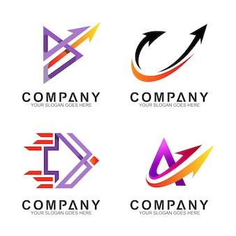 Conjunto de plantilla de logotipo de empresa de flecha