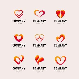 Conjunto de plantilla de logotipo en forma de corazón