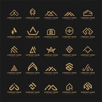 Conjunto de plantilla de logotipo. iconos inusuales para negocios universales de lujo, elegantes, simples.