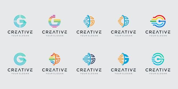 Conjunto de plantilla de logotipo inicial letra g