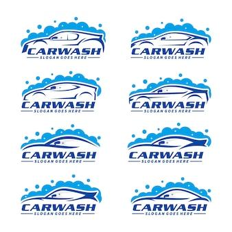 Conjunto de plantilla de logotipo de lavado de coches