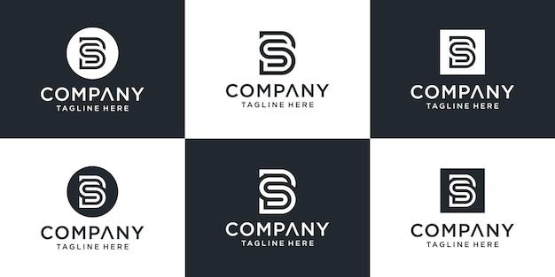 Conjunto de plantilla de logotipo de letra bs de monograma creativo.
