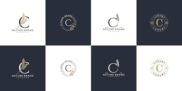 Conjunto de plantilla de logotipo de letra c inicial femenina de lujo
