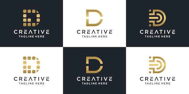 Conjunto de plantilla de logotipo de letra d monograma creativo lettermark.