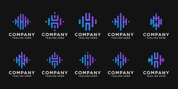 Conjunto de plantilla de logotipo de letra h inicial de colección.