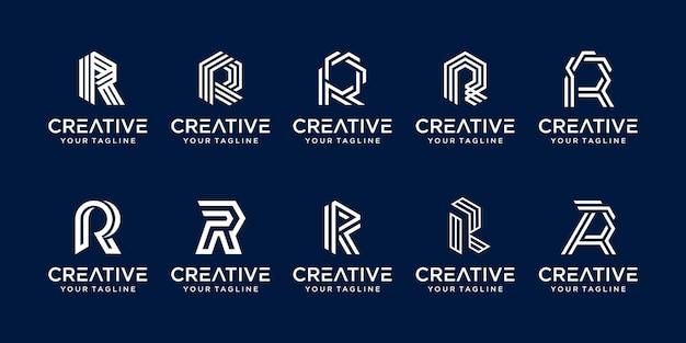 Conjunto de plantilla de logotipo de letra inicial de colección r.