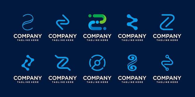 Conjunto de plantilla de logotipo de letra inicial z de colección. iconos para negocios de moda, deporte, automoción, tecnología digital.