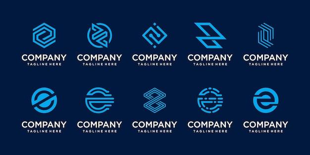 Conjunto de plantilla de logotipo de letra inicial z de colección. iconos para negocios de moda, tecnología digital.
