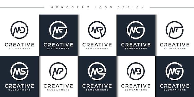 Conjunto de plantilla de logotipo de letra m moderna de paquete