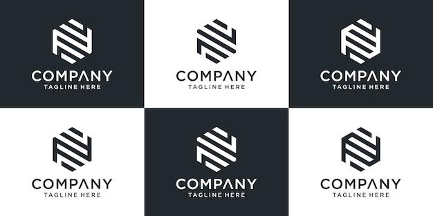 Conjunto de plantilla de logotipo de letra n monograma abstracto creativo